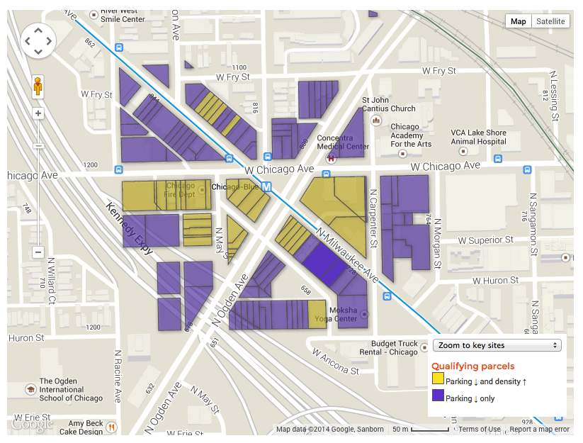 The map shows in yellow where developers can get density bonuses. Developers can get parking reductions in all parcels.