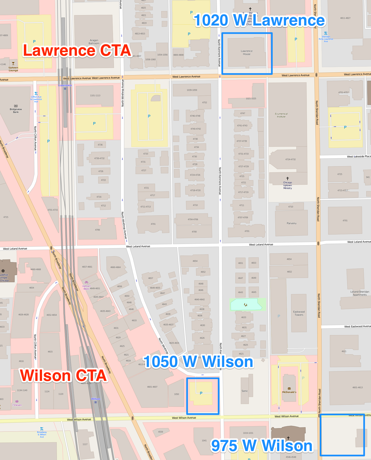 Map showing the three Cedar Street developments in Uptown in relation to the CTA stations.