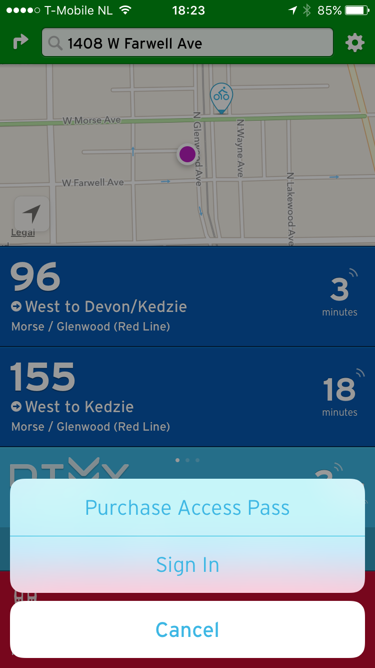 The Transit app allows you to enter payment information within and purchase a 24-hour pass, or use a promotional code.