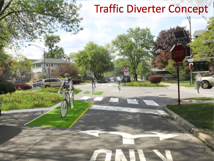 CDOT showed this rendering of how the traffic diverter. Previous versions used concrete to physically prevent going straight. Image: CDOT