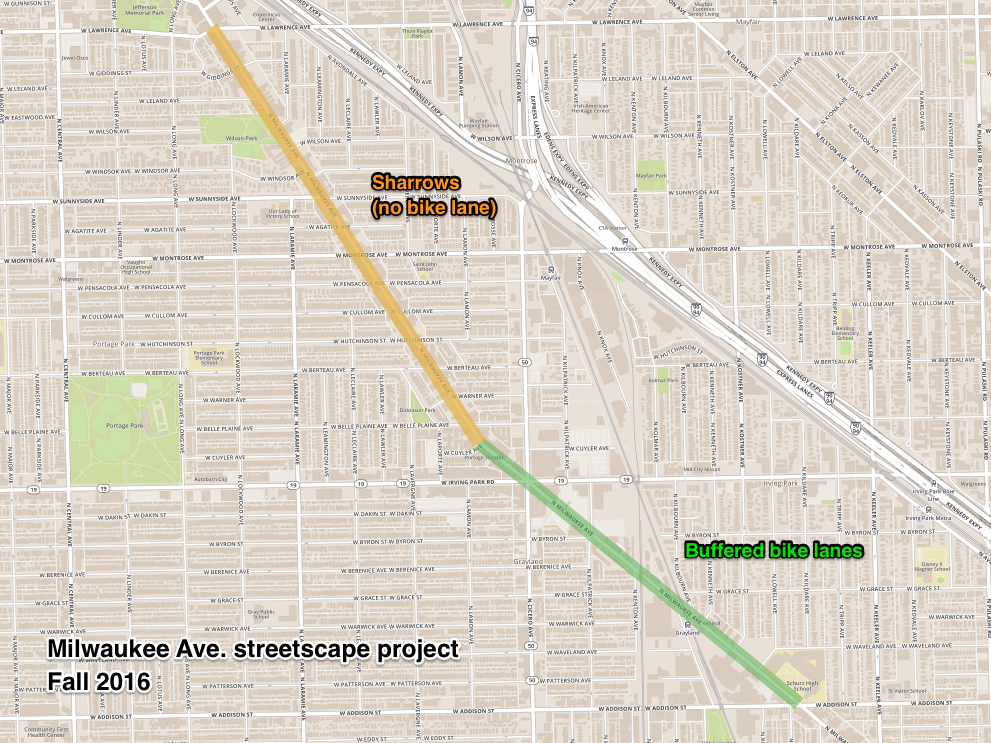 Map of Milwaukee Ave bike lanes in 45th Ward