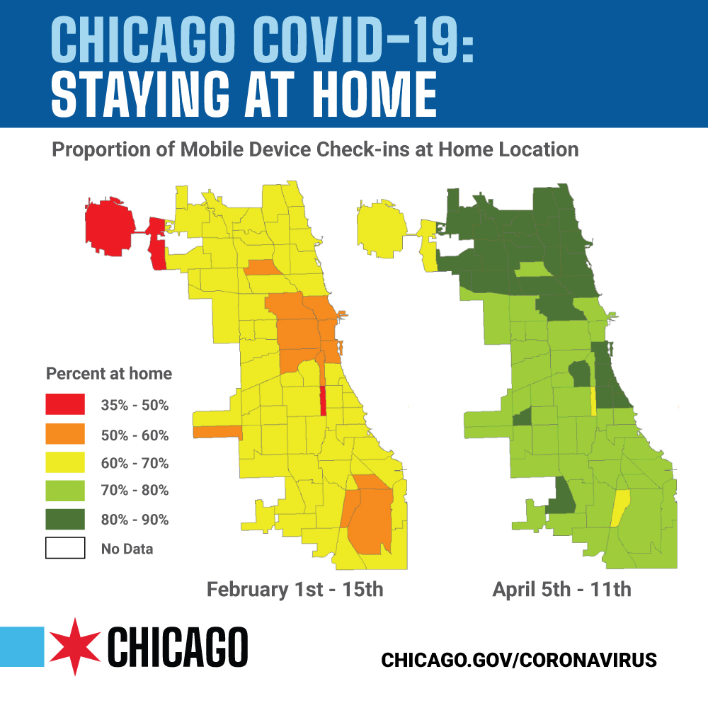 City of Chicago's Ward Level Data Regarding Percentage of Residents Staying Home