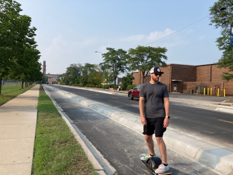 Eyes on the Street: Concrete protected bike lanes on Campbell in North Center